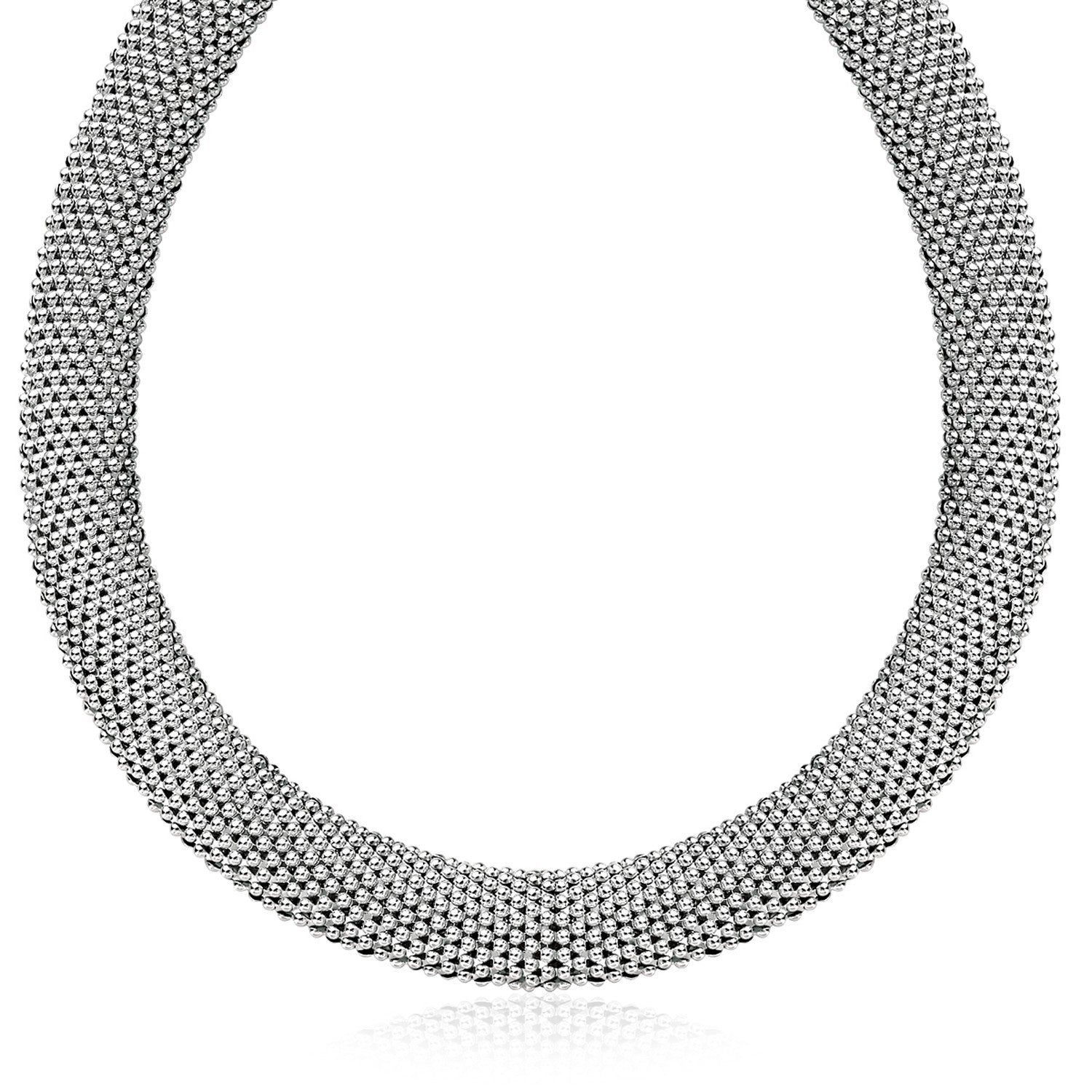 Unique Hollywood Style Sterling Silver Flat Style Mesh Necklace with Rhodium Plating