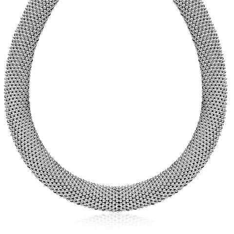 Sterling Silver Flat Style Mesh Necklace with Rhodium Plating