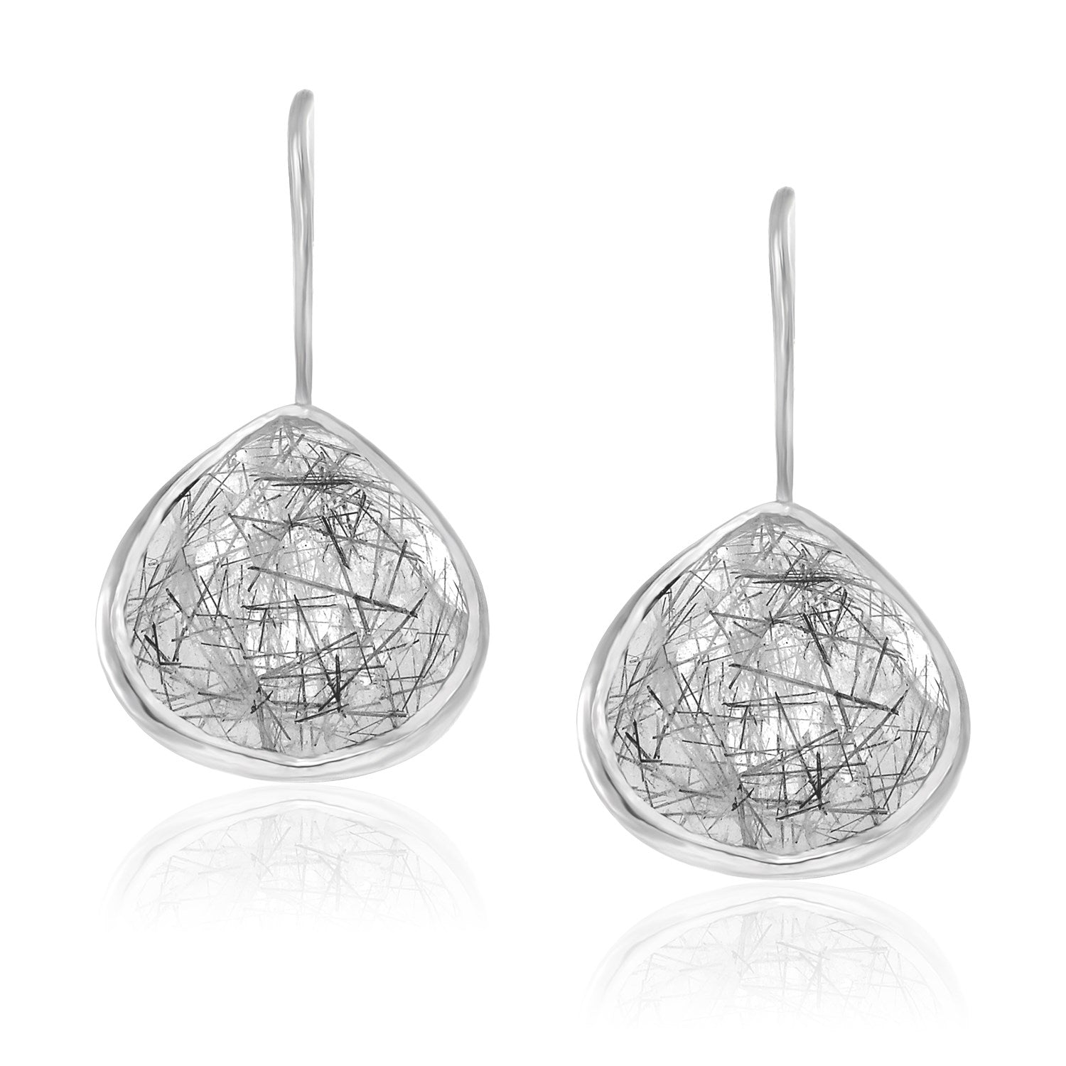 Unique Modern Paris Style Sterling Silver Rutilated Quartz Teardrop Earrings