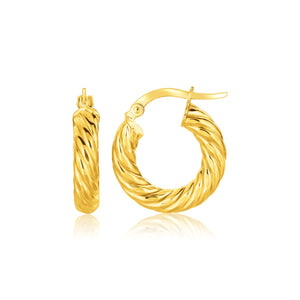 14K Yellow Gold Twisted Cable Small Hoop Earrings