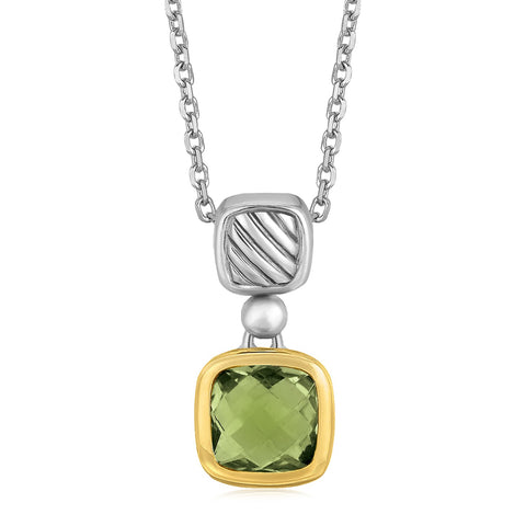 Distinctive Luxury London Style 18K Yellow Gold and Sterling Silver Necklace with Cushion Green Amethyst Pendant