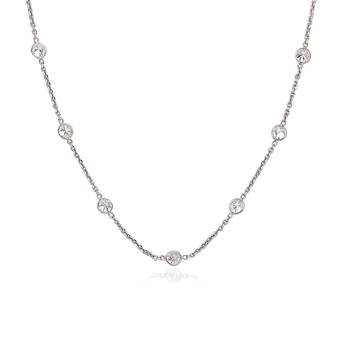 Unique Hollywood Style 14K White Gold CZ By the Yard Long Links