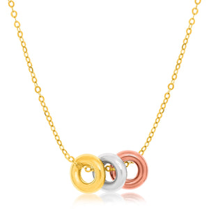 Unique Hollywood Style 14K Tri-Color Gold Chain Necklace with Three Open Circle Accents