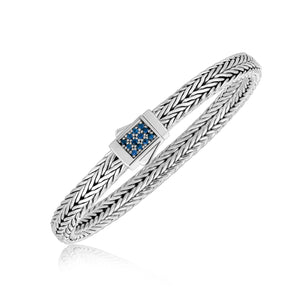 Unique Modern Monaco Style Sterling Silver Braided Blue Sapphire Accented Men's Bracelet