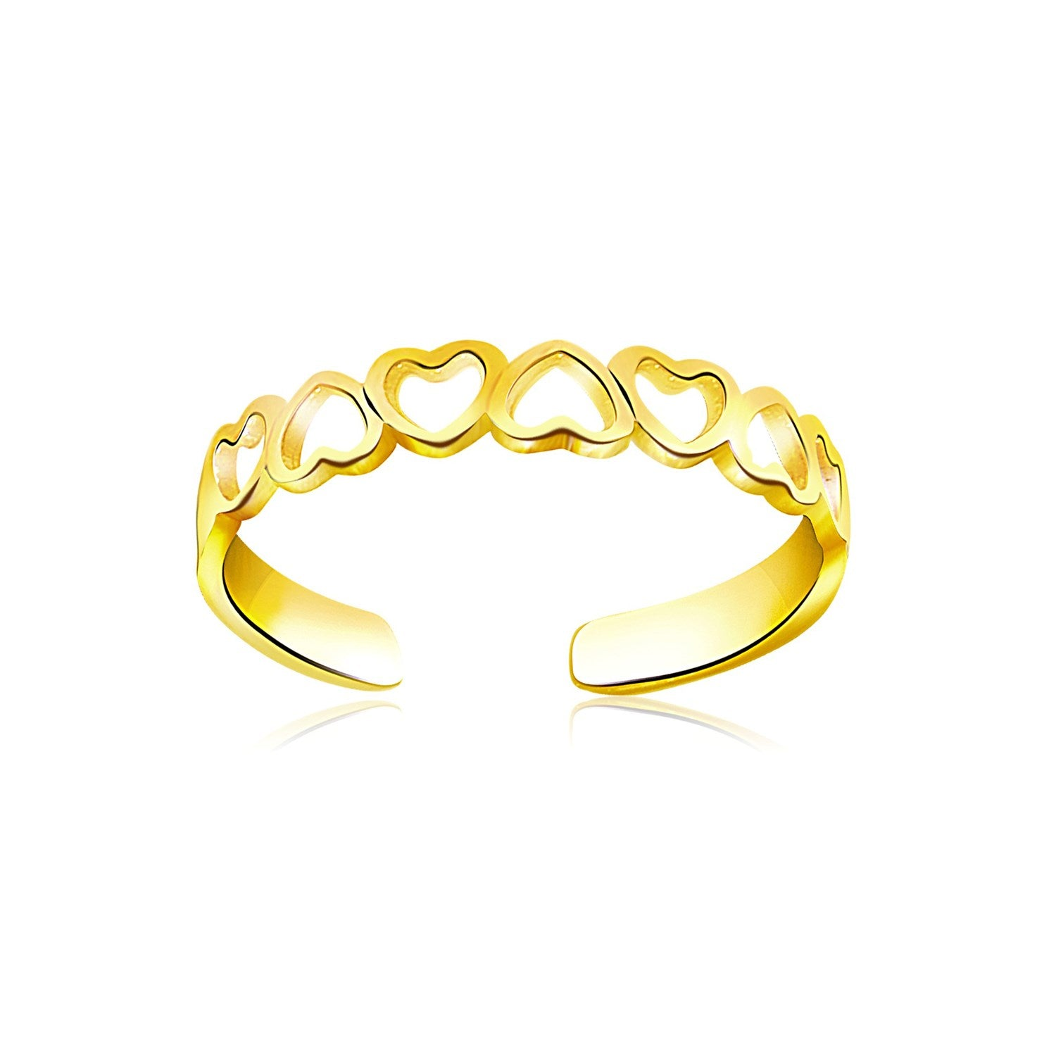 14K Yellow Gold Heart Toe Ring - Uniquepedia.com