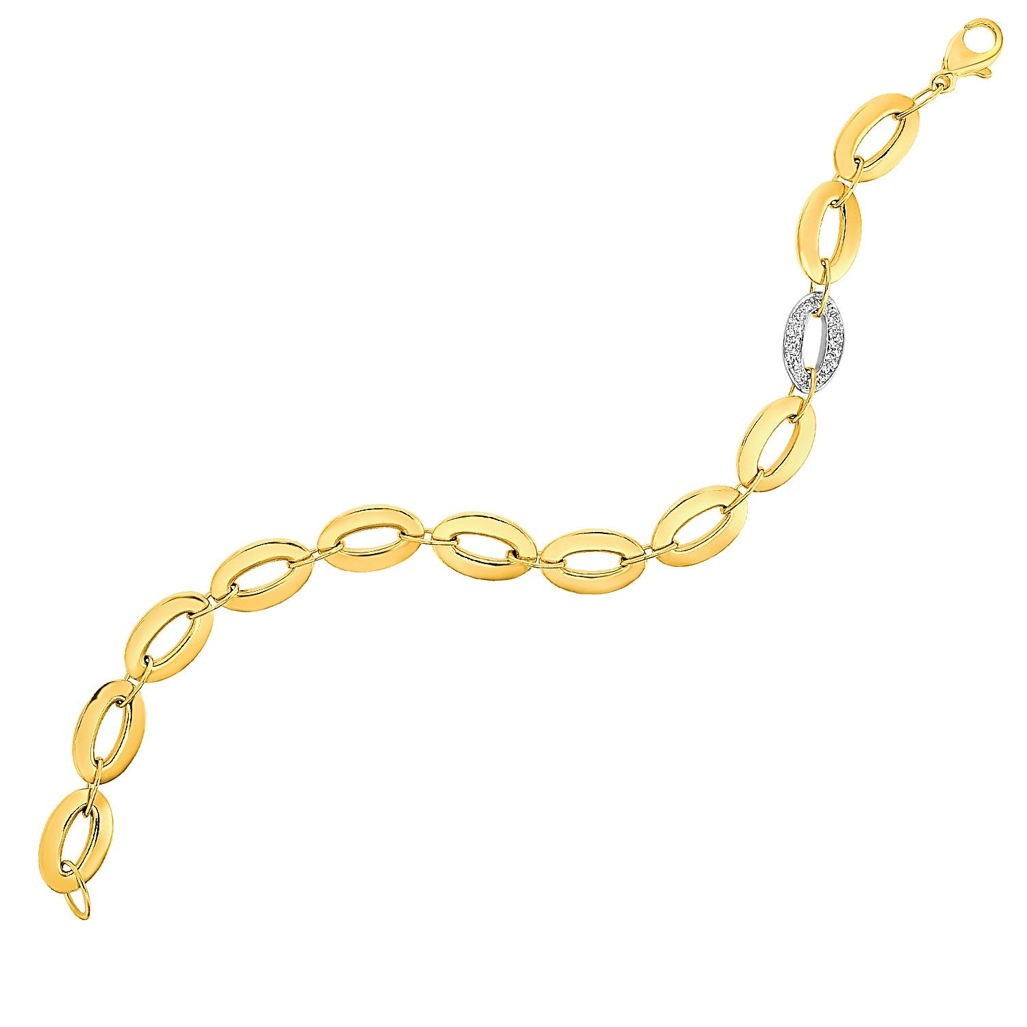 Unique Modern Monaco Style 14K Yellow Gold and Diamond Oval Link Bracelet (1/10 ct. tw.)