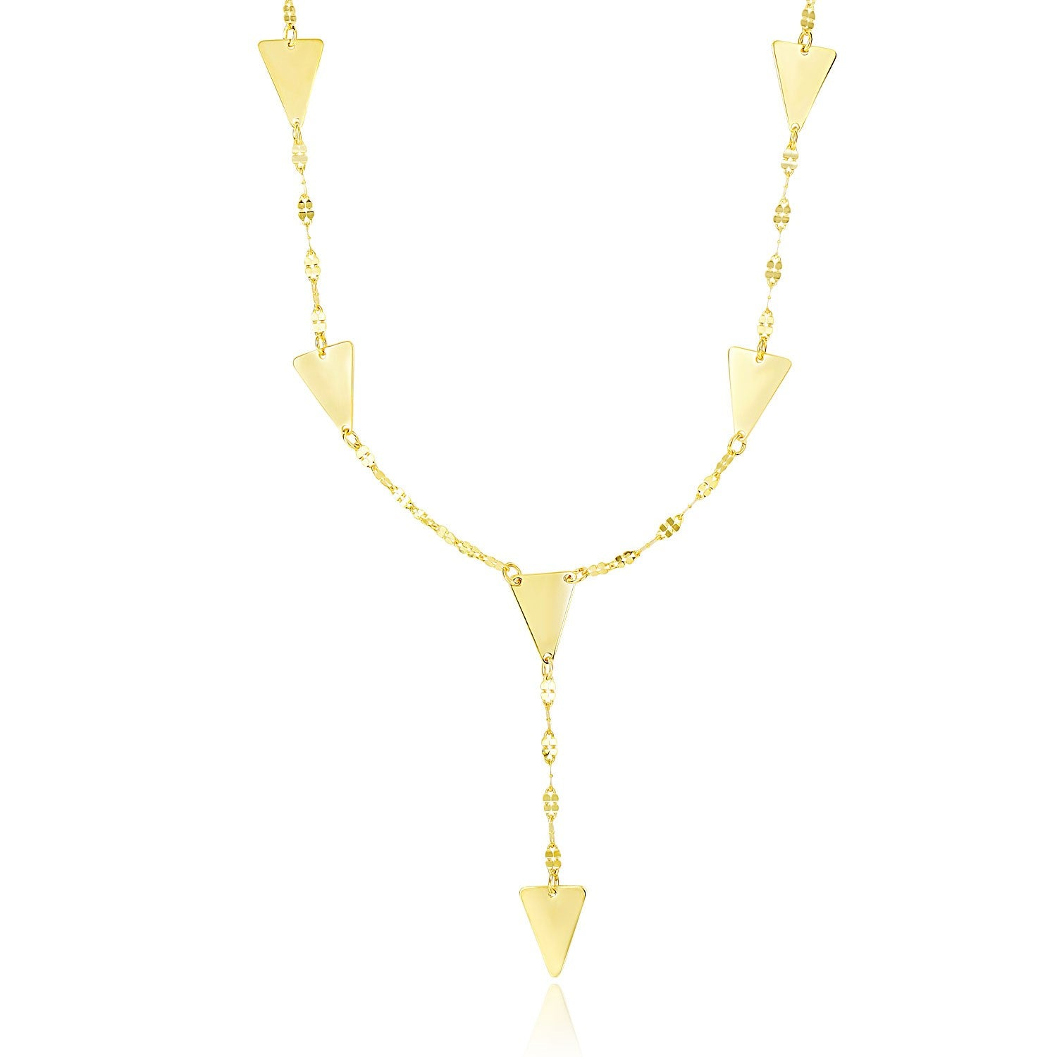 14K Yellow Gold Fancy Lariat Chain Necklace with Triangle Shape Stations