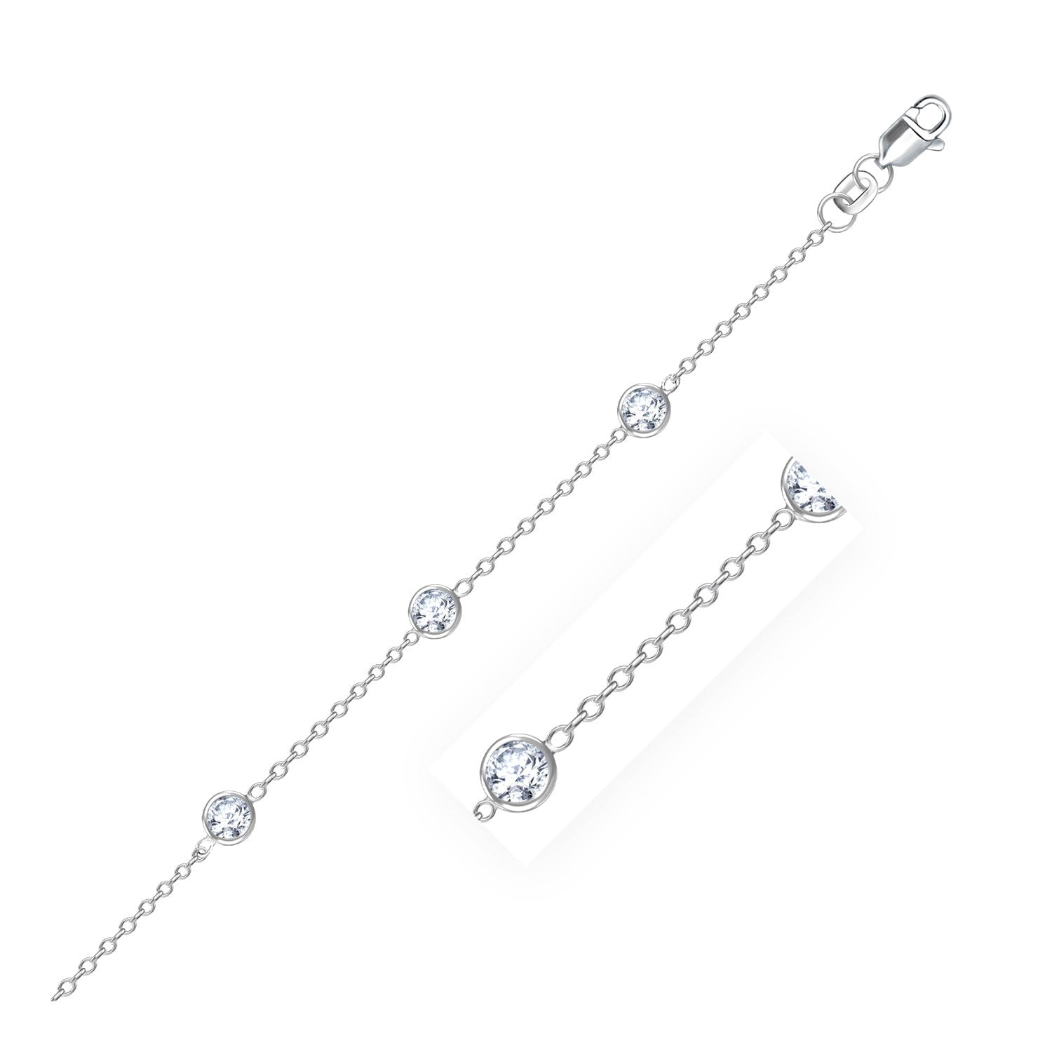 14K White Gold Anklet with Round White Cubic Zirconia - Uniquepedia.com
