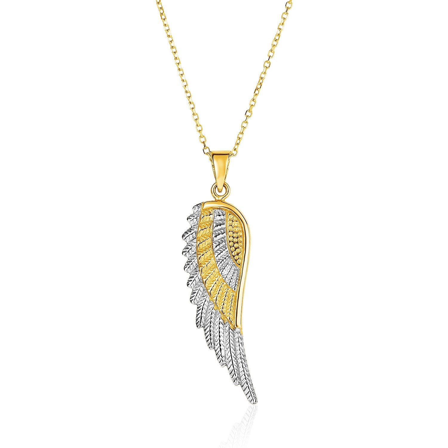 Original New York Style  14K Two-Tone Yellow and White Gold Angel Wing Pendant
