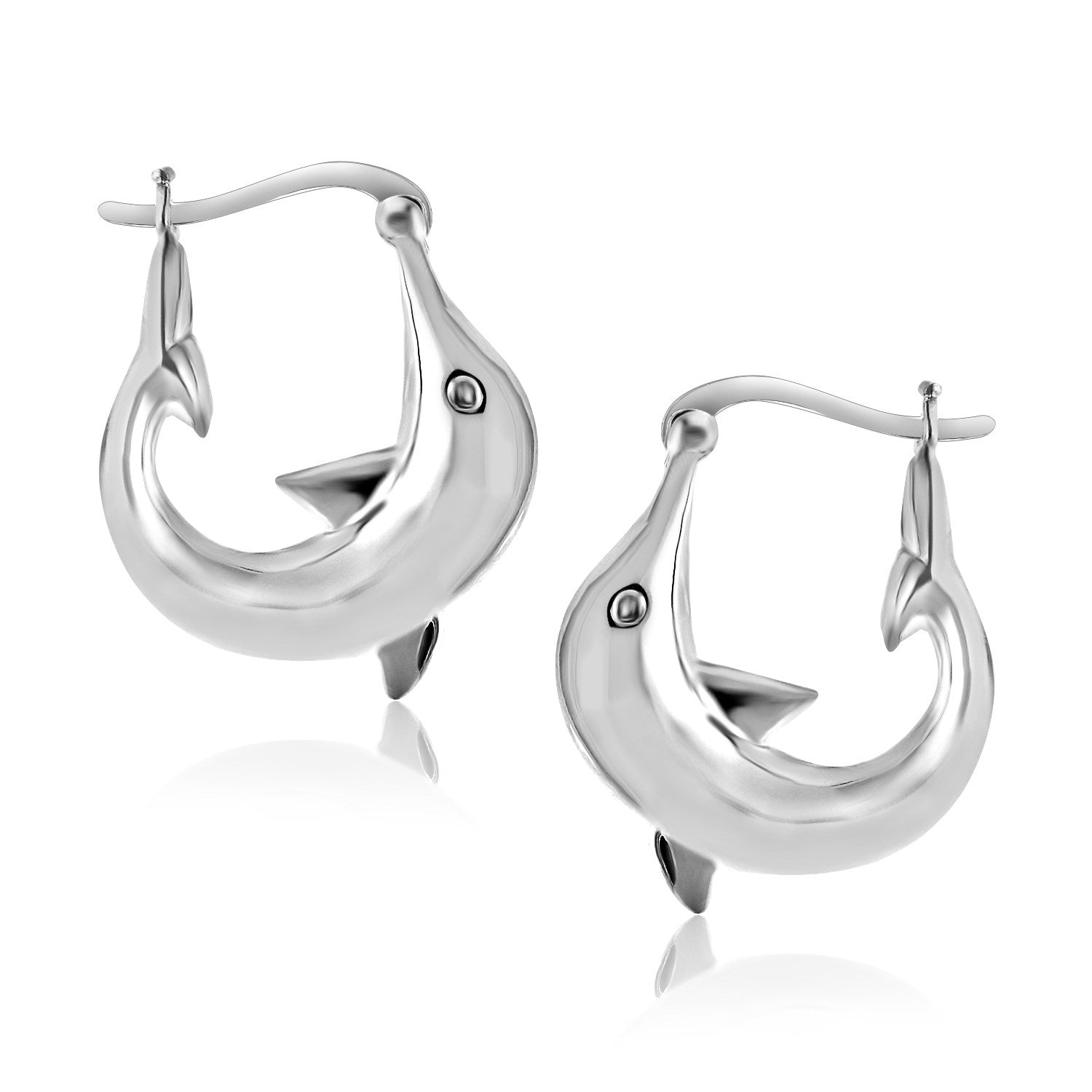 Sterling Silver Dolphin Hoop Style Earrings