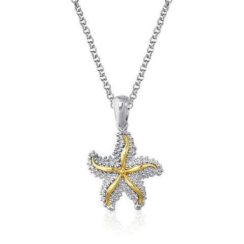 Distinctive Luxury London Style Designer Sterling Silver and 14K Yellow Gold Starfish Pendant