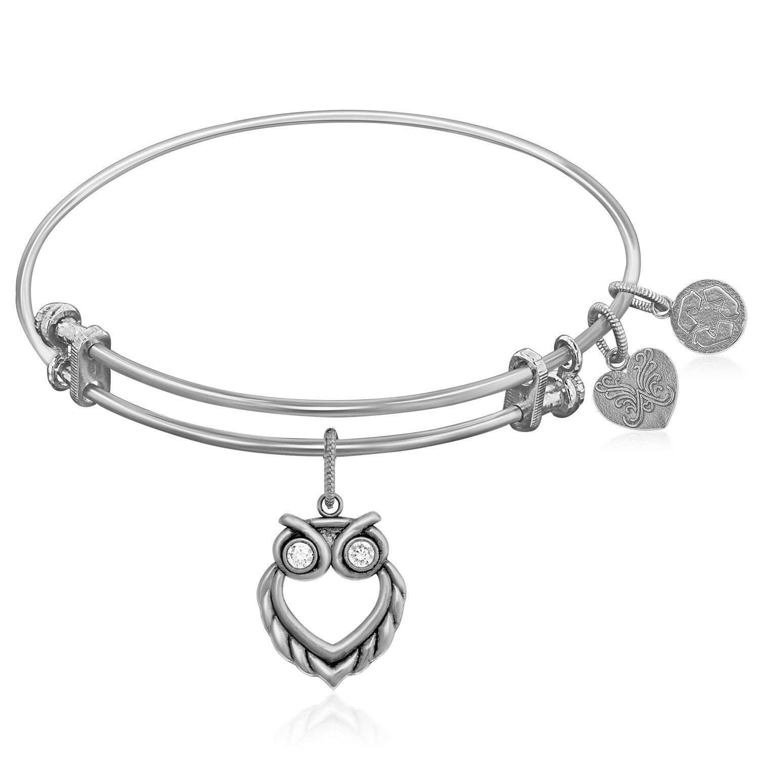 Expandable White Tone Brass Bangle with Owl Angelica Symbol