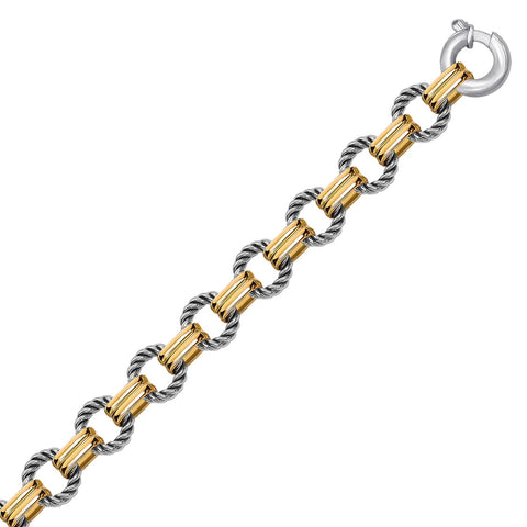 18K Yellow Gold and Sterling Silver Polished and Round Cable Chain Bracelet