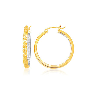 Two-Tone Yellow and White Gold Petite Patterned Hoop Earrings