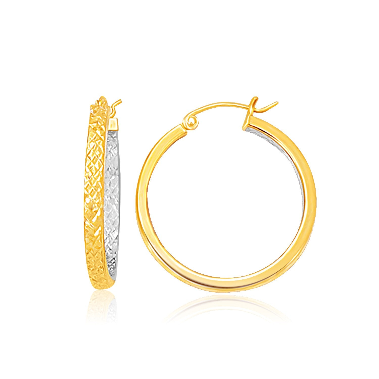 Modern Hollywood Style Classy Two-Tone Yellow and White Gold Medium Patterned Hoop Earrings
