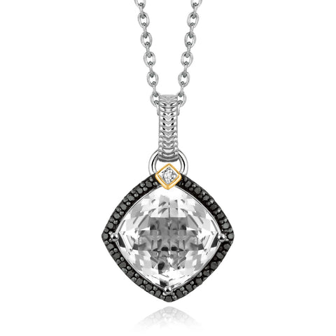 Distinctive Luxury London Style 18K Yellow Gold and Sterling Silver Pendant with Crystal Quartz and Diamonds