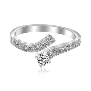 Sterling Silver Rhodium Finished Curvy Toe Ring with Cubic Zirconia Accents - Uniquepedia.com