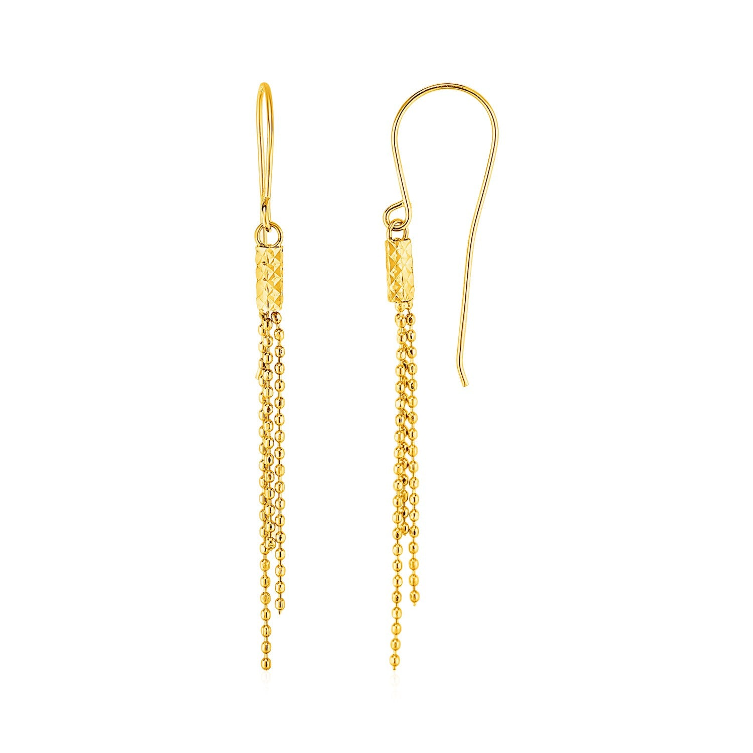 Modern Hollywood Style Classy Earrings with Fine Chain Dangles in 10K Yellow Gold