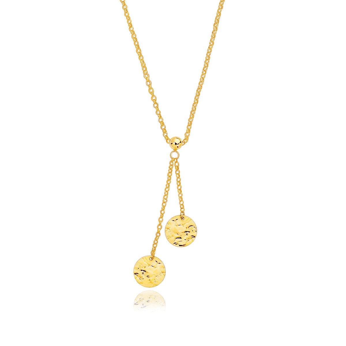 14K Yellow Gold Hammered Disc Lariat 17'' Necklace
