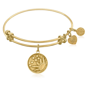 Expandable Bangle in Yellow Tone Brass with Sun  Moon And Stars Symbol