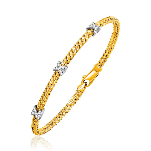 Unique Luxury French Style Basket Weave Bangle with Cross Diamond Accents in 14K Yellow Gold (4.0mm)