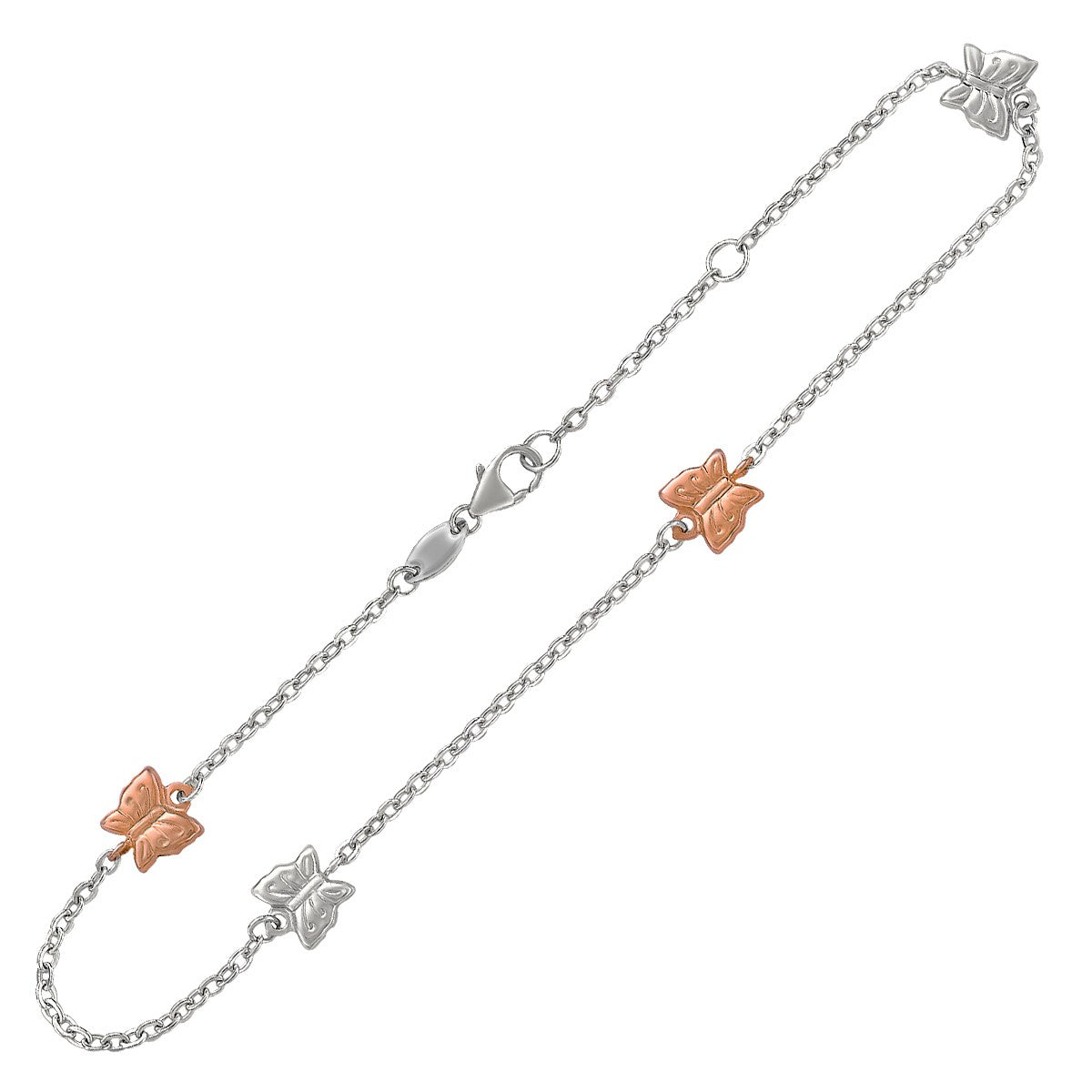 14K Rose Gold and Sterling Silver Anklet with Butterfly Stations - Uniquepedia.com
