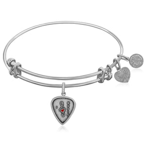 Modern New York Style Unique Expandable White Tone Brass Bangle with I Love Music Enamel Symbol