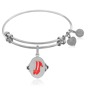 Expandable Bangle in White Tone Brass with Ruby Slippers Symbol
