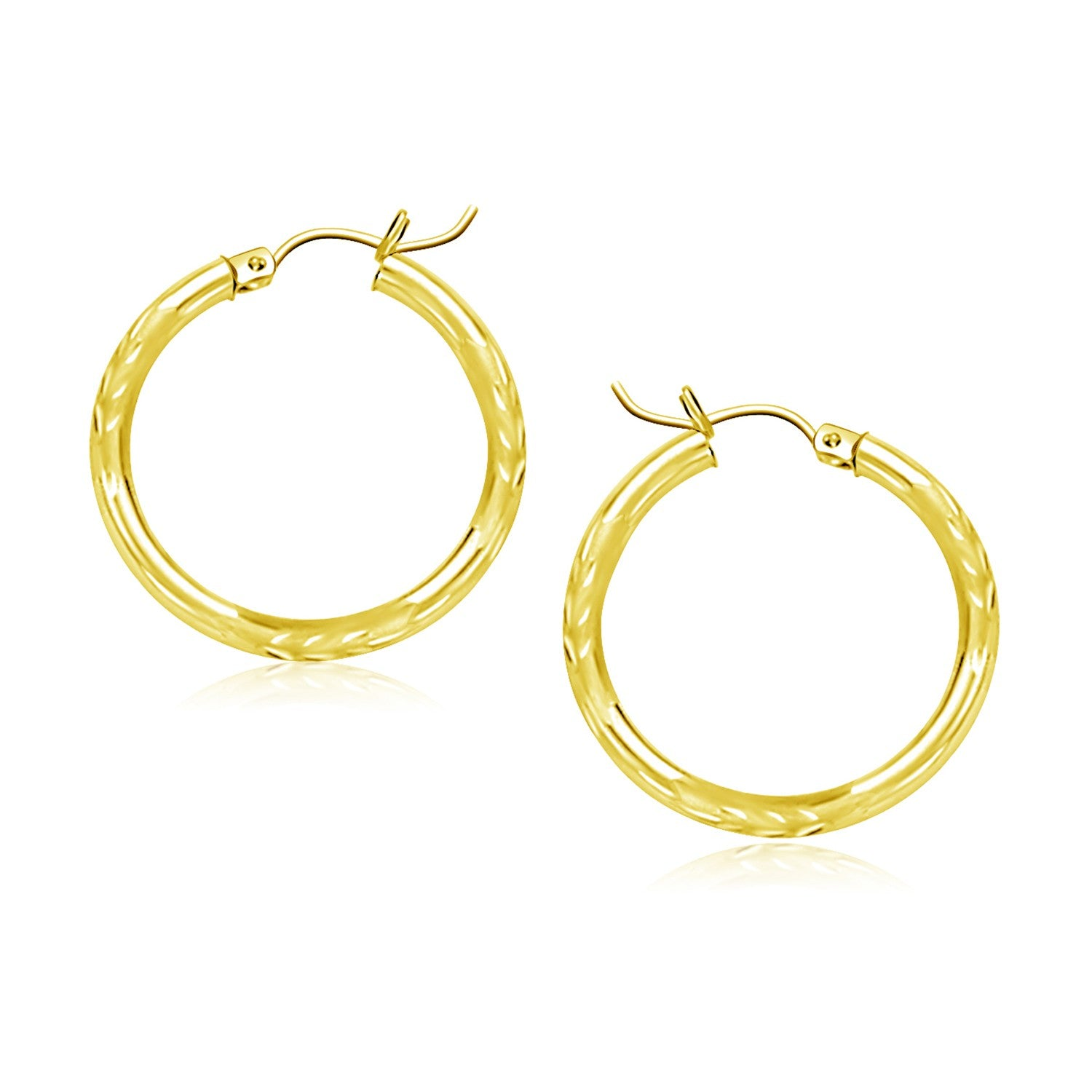 14K Yellow Gold Diamond Cut Hoop Earrings (20mm)