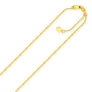 14K Yellow Gold Singapore Style Adjustable Chain (1.1 mm)