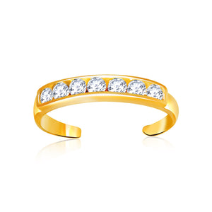 14K Yellow Gold Pave Set Cubic Zirconia Toe Ring - Uniquepedia.com