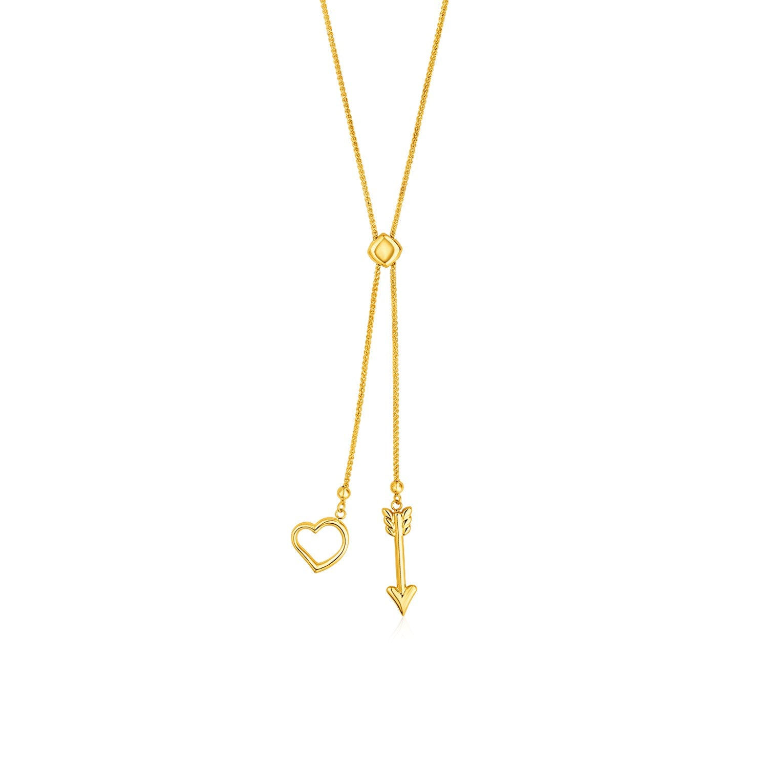 Adjustable Lariat Necklace with Arrow and Heart Pendants in 14K Yellow Gold