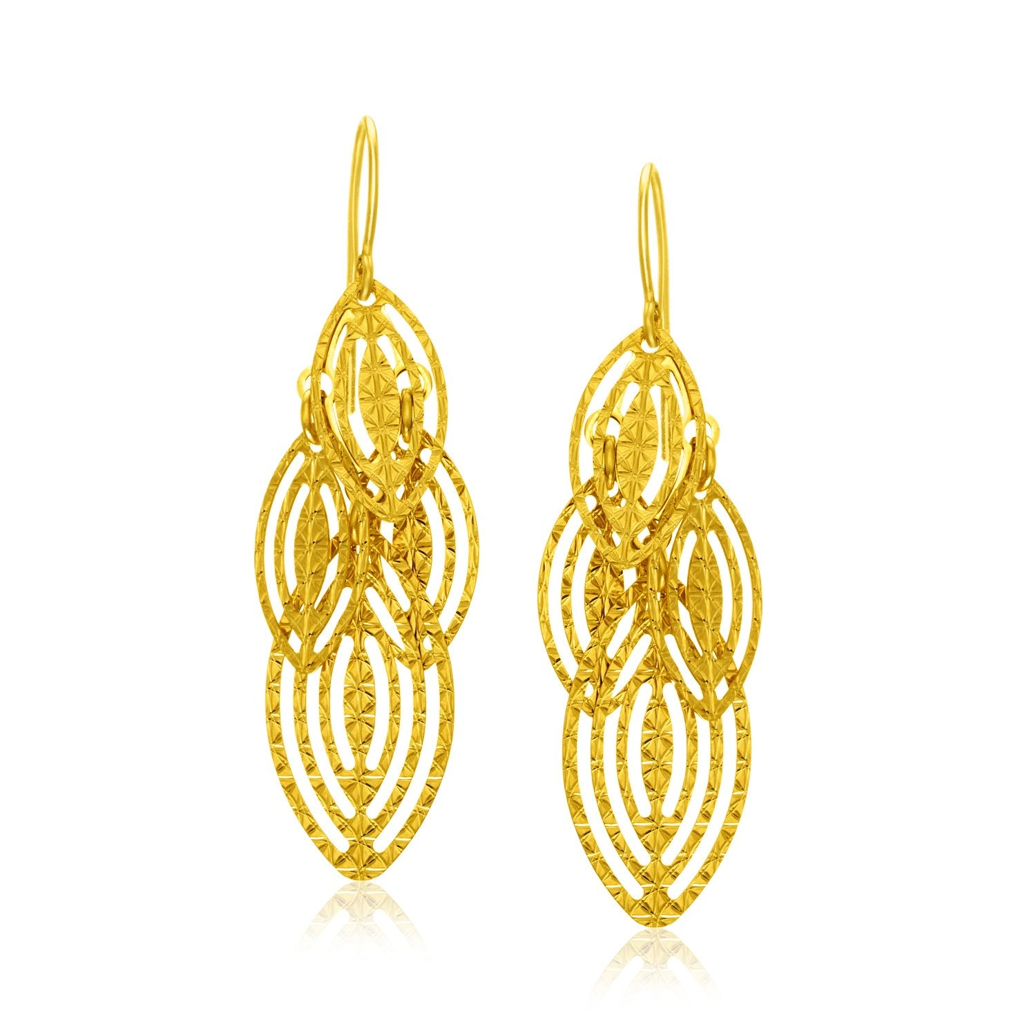 14K Yellow Gold Textured Cascading Cut Out Marquise Earrings