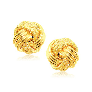 14K Yellow Gold interweaved Love Knot Stud Earrings