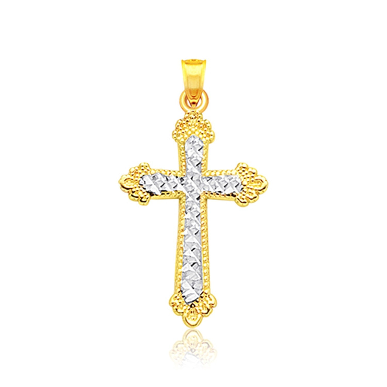 14K Two Tone Gold Diamond Cut Cross Pendant