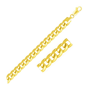 Uniquely designed Paris Style 6.7mm 14K Yellow Gold Solid Miami Cuban Chain