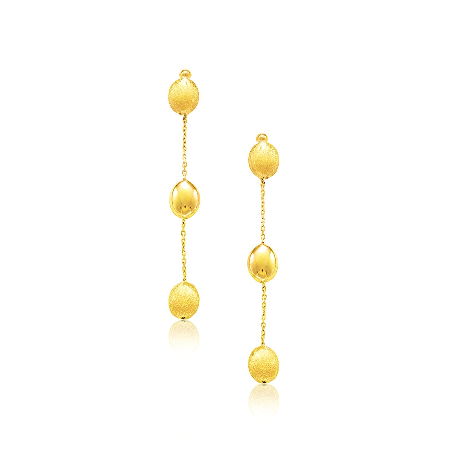 14K Yellow Gold Textured and Shiny Pebble Dangling Earrings
