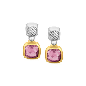 Unique Modern Paris Style 18K Yellow Gold and Sterling Silver Cushion Amethyst Accented Drop Earrings