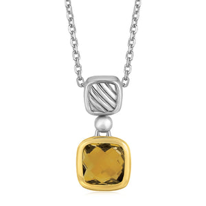 Distinctive Luxury London Style 18K Yellow Gold and Sterling Silver Necklace with Cushion Cut Citrine Pendant