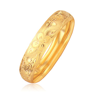 Unique Luxury French Style Classic Floral Carved Bangle in 14K Yellow Gold (13.5mm)