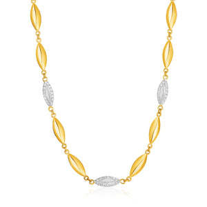 14K Yellow Gold and Diamond Marquise Motif Necklace (1/5 ct. tw.)