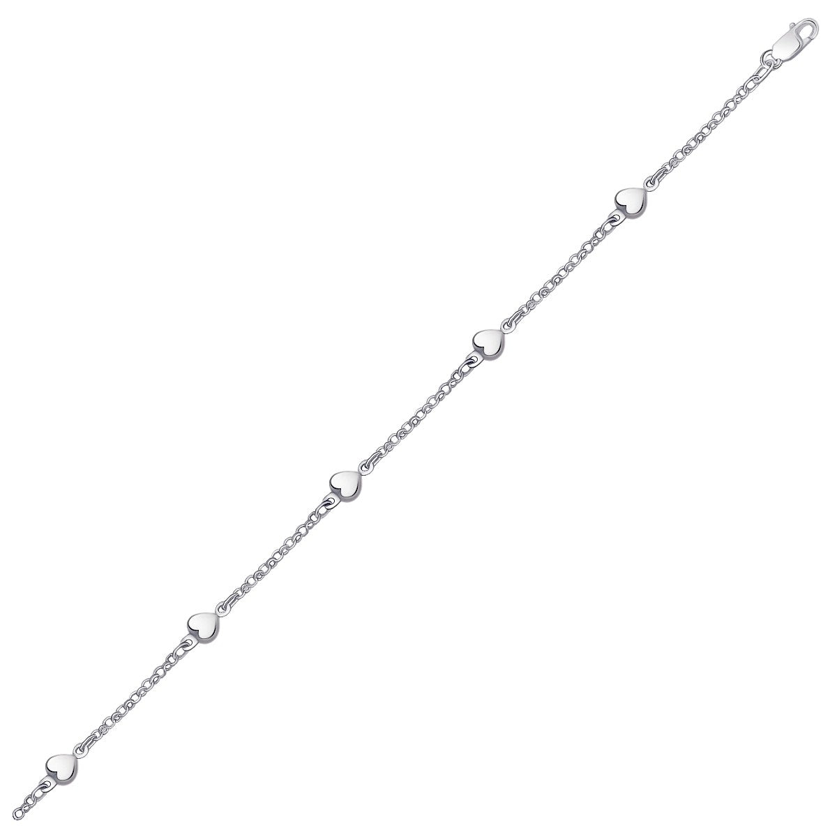 14K White Gold Anklet with Puffed Heart Design - Uniquepedia.com
