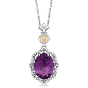 Distinctive Luxury London Style 18K Yellow Gold and Sterling Silver Pendant with Amethyst and Diamonds