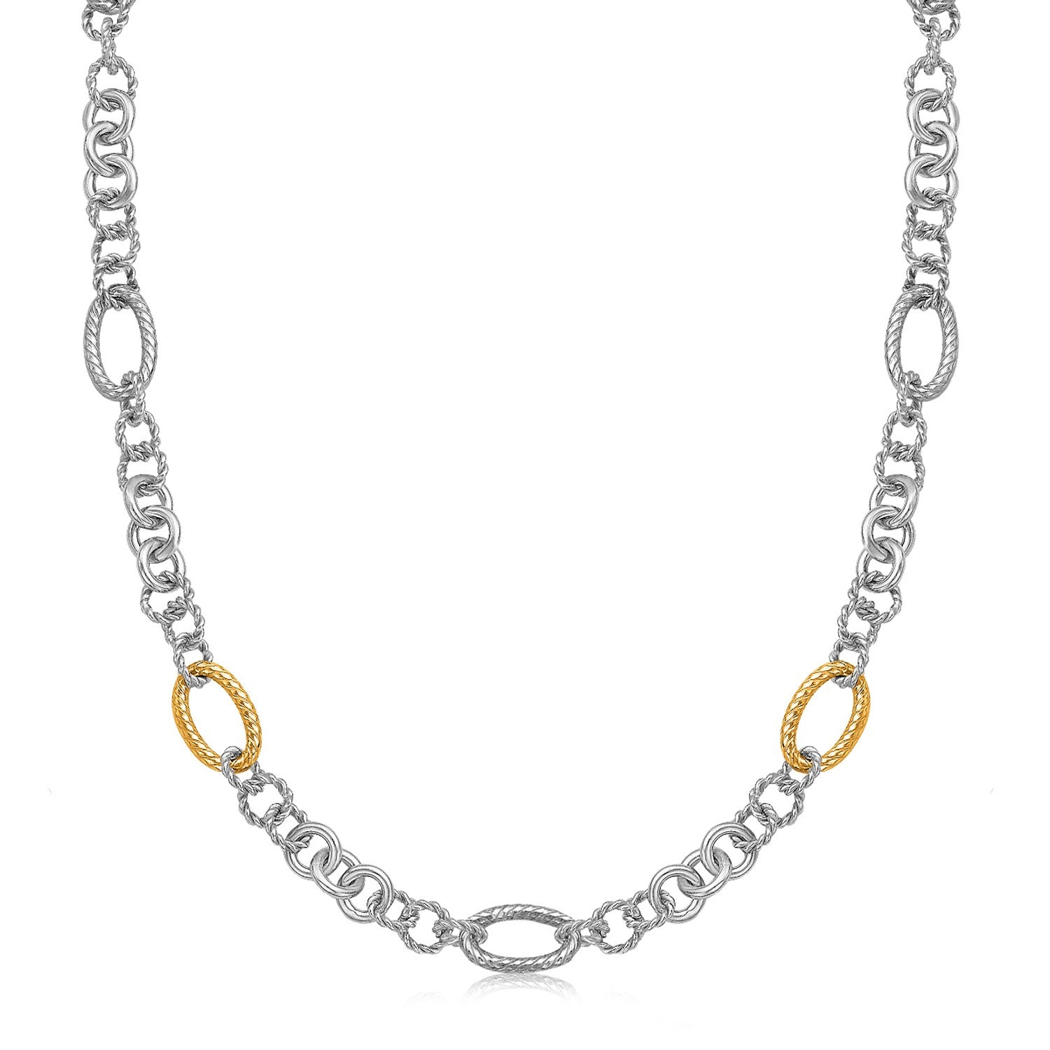 Unique Hollywood Style 18K Yellow Gold and Sterling Silver Rhodium Plated Multi Design Chain Necklace