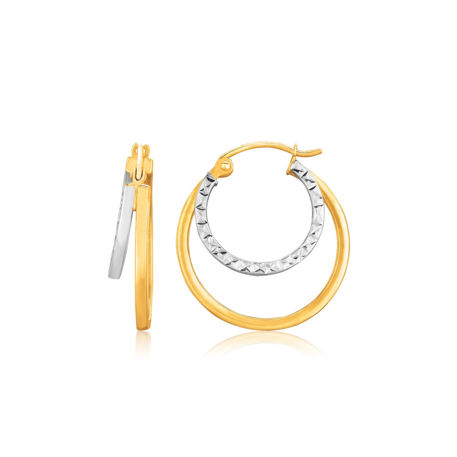 Original Modern Italian Style 14K Two Tone Gold Double Hoop Hammered Texture Earrings
