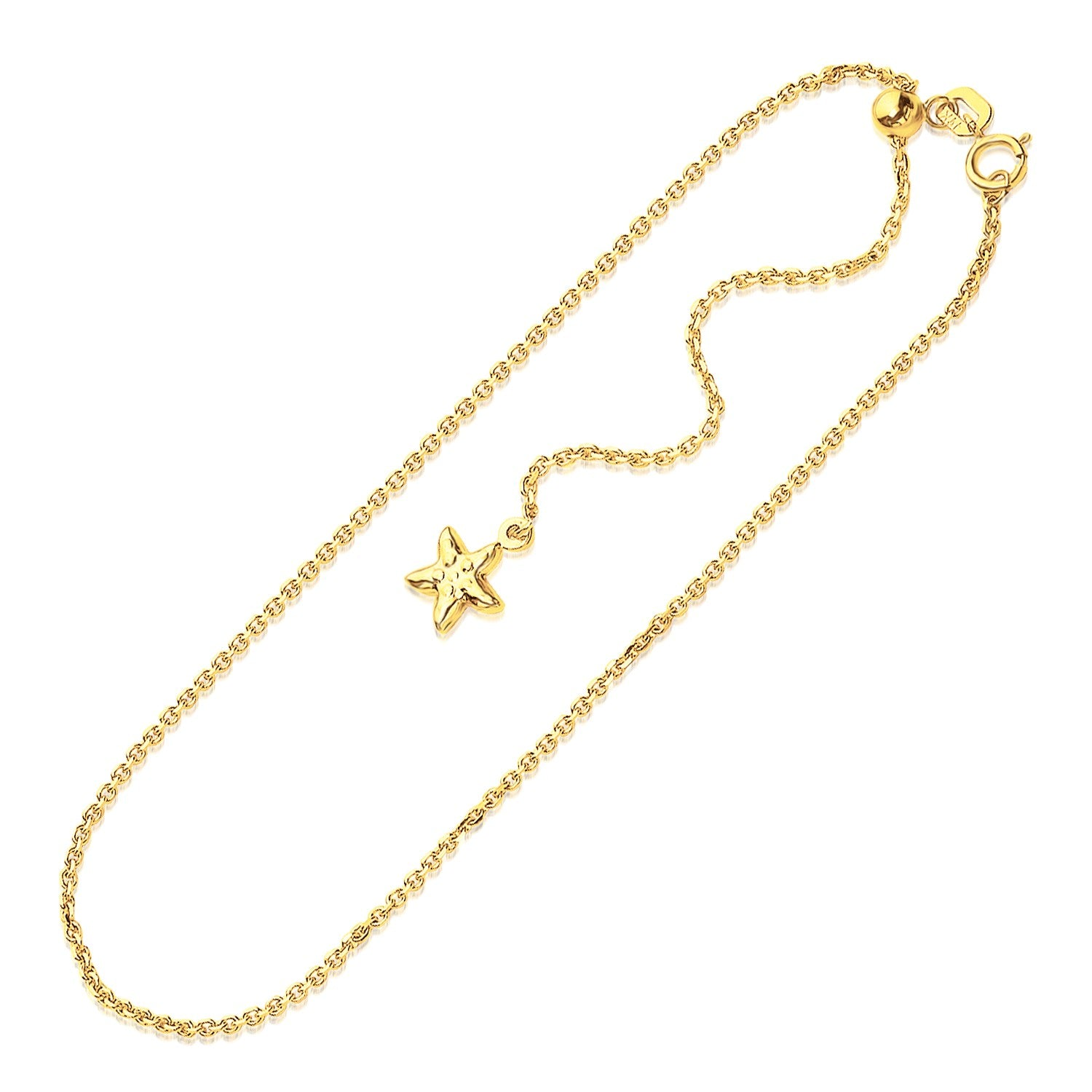 14K Yellow Gold Star Accent Cable Link Adjustable Anklet - Uniquepedia.com