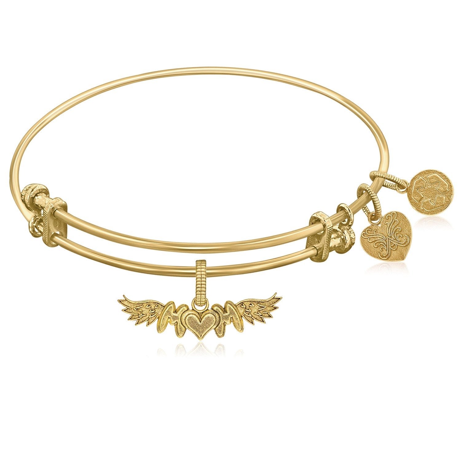 Expandable Yellow Tone Brass Bangle with Finish M-Heart-M With Wing Symbol