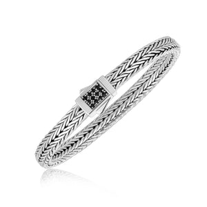 Unique Modern Monaco Style Sterling Silver Braided Black Sapphire Accented Men's Bracelet