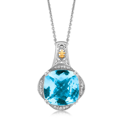 Distinctive Luxury London Style 18K Yellow Gold and Sterling Silver Blue Topaz and Diamond Fleur De Lis Pendant