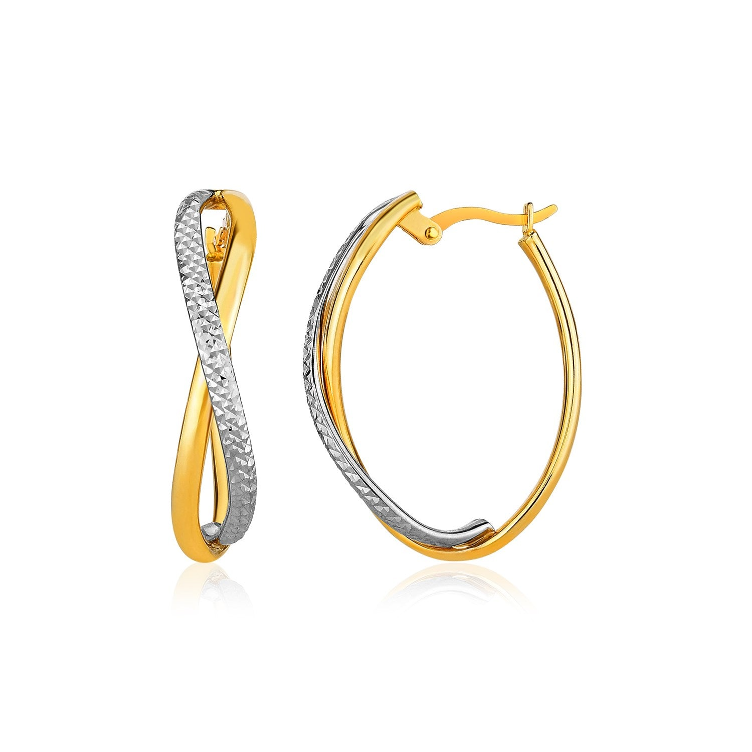 14K Two-Tone Gold Twisted Style Multi-Textured Hoop Earrings